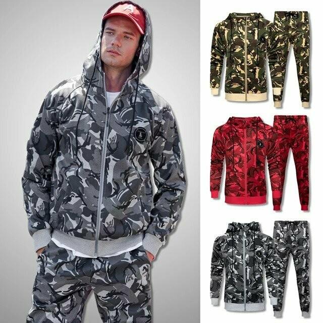 Men Camouflage Sweat Suit 2020 Brand New Tracksuit Set Men Sweatshirts Sweatpants Sportswear Clothing Male Casual Jogger Sets