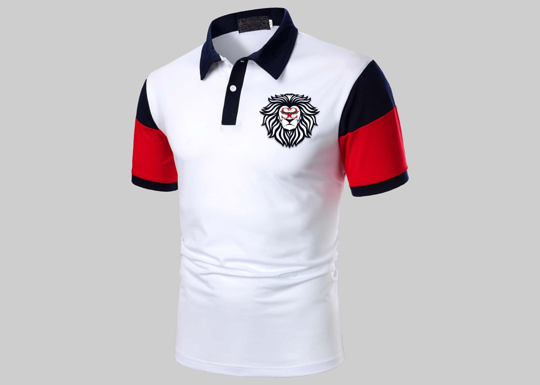 Men Color Block Lion Head Polo Shirt