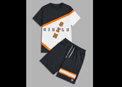 Men Colorblock Top & Drawstring Waist Shorts Set