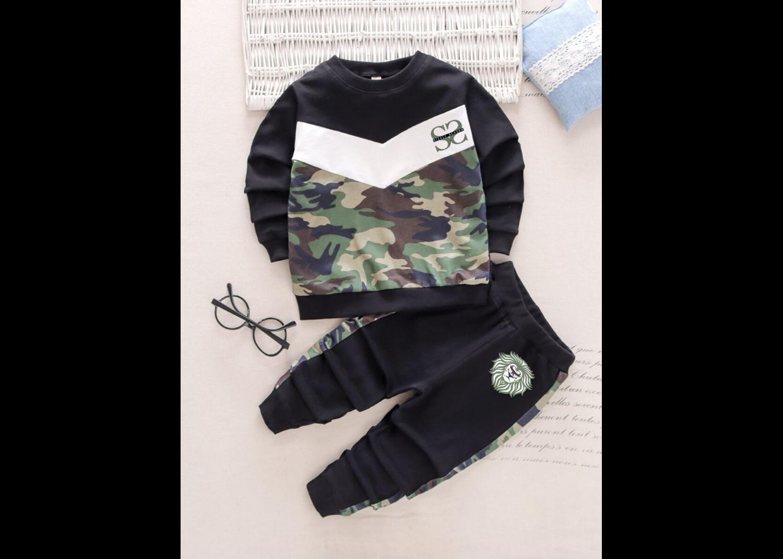 Toddler Boys Contrast Camo & Chevron Print Sweatshirt With Sweatpants