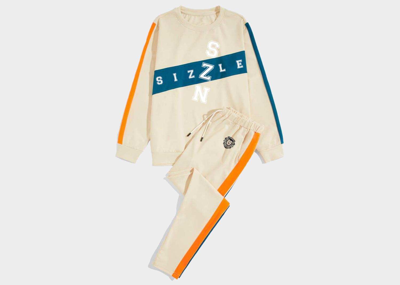 Men Colorblock Sweatshirt & Drawstring Waist Pants