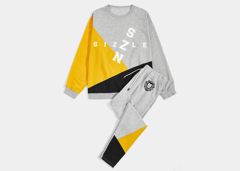 Men Color-block Sweatshirt & Drawstring Waist Sweatpants