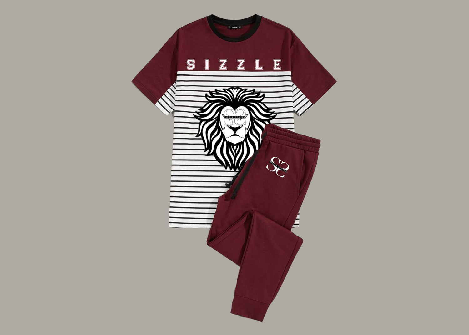 Men Cut-and-sew Striped Tee & Solid Joggers Set