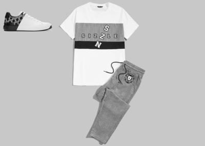 Men Contrast Panel Tee & Plaid Pants Set
