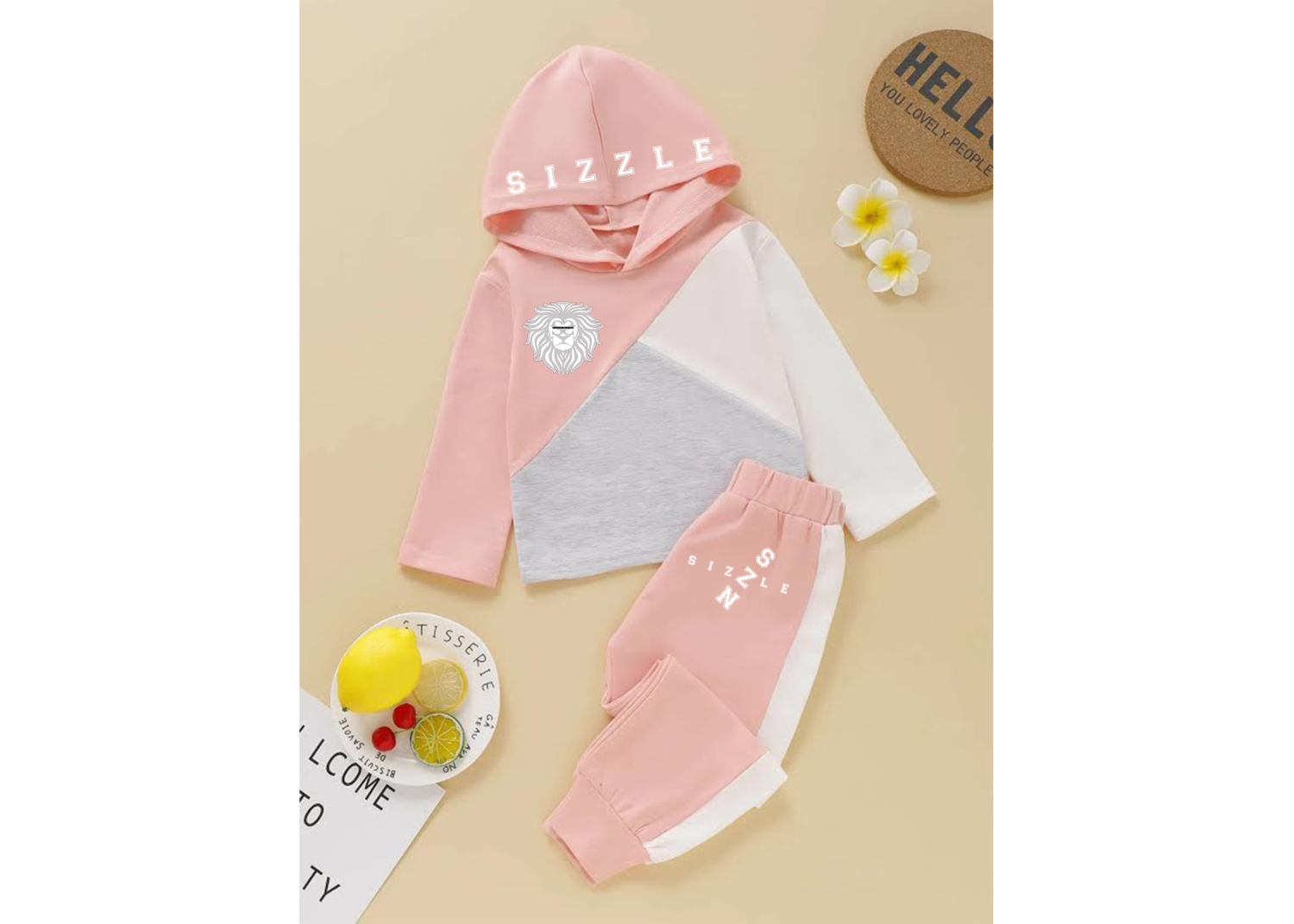 Toddler Girls Cut And Sew Hoodie With Sweatpants