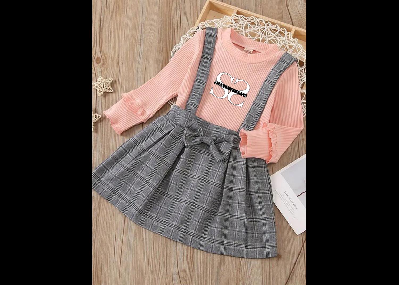 Toddler Girls Rib-Knit Tee & Plaid Bow Front Pinafore Skirt Set
