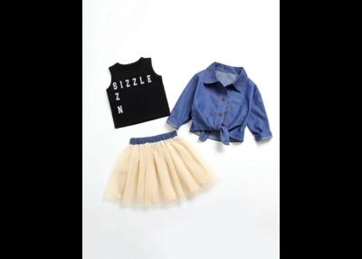 Toddler Girls Knot Hem Denim Shirt & Tank Tee & Tulle Skirt