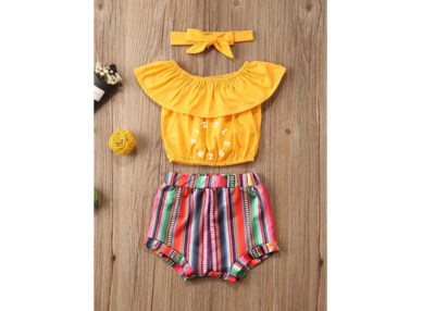 Toddler Girls Solid Blouse & Striped Shorts & Headband