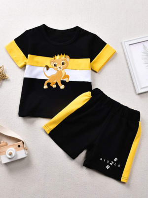 Toddler Boys Contrast Panel Tee & Shorts