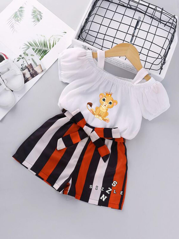 Toddler Girls Cold Shoulder Blouse & Stripe Belted Shorts