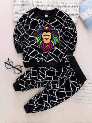 Toddler Black & White Outfit - Multicolored Lion