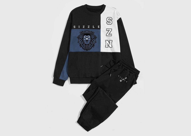 Men'S Color Block Sweatshirt & Sweatpants