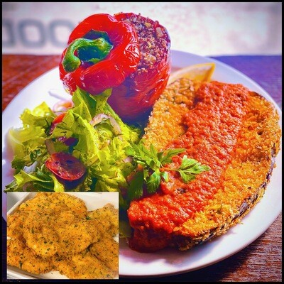 MARCH 16-20 /  Panko Fried Eggplant Cutlet OR Chicken Scallopini