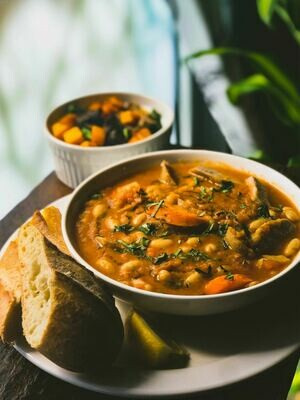 MARCH 23-27 /  Rustic Whitebean Stew (optional Italian Sausage) with Crusty Bread