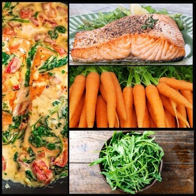 MAY 4-MAY 8 /  Roasted Pepper Salmon OR Roasted Mushrooms & Spinach in Cream Sauce
