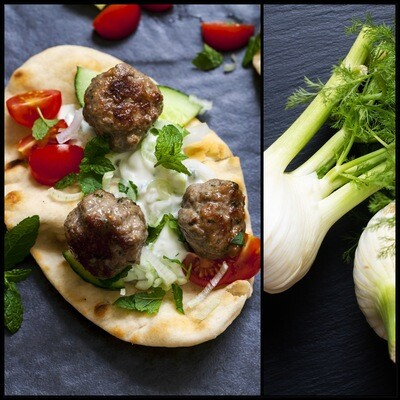 MAY 11-MAY 15 /  Lamb Meatballs with Dill Cream Sauce / Baked Zucchini, Spinach & Feta Casserole and Toasted Walnuts