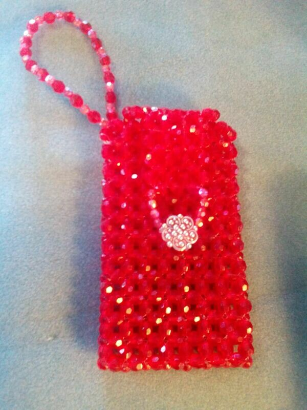 Faceted Beaded Cell Phone Purse Pouch Wristlet