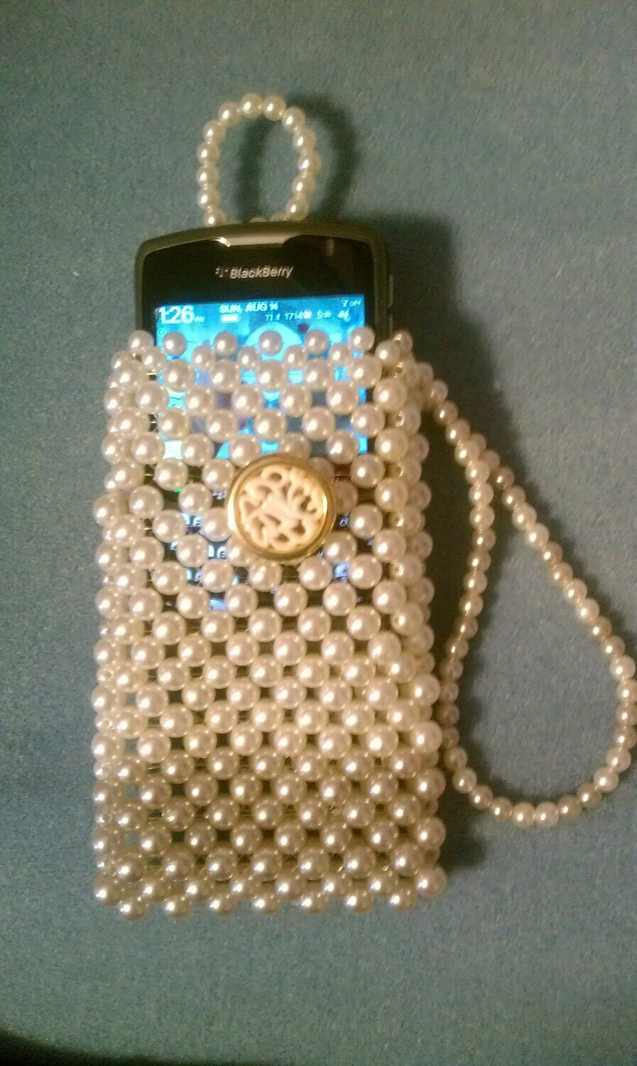 Striped Weave Pearl Cell Phone Purse Pouch With Wristlet