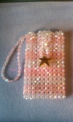 le Sac rayures de couleur -Striped, Beaded Cell Phone Purse Pouch with wristlet *
