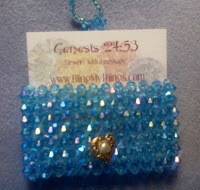 Beaded Business Card Holder with stretch strap button closure *