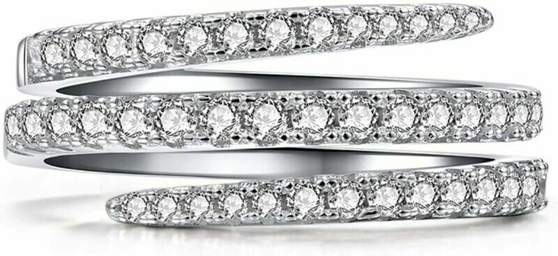 * .925 Sterling Silver & CZ  Multi Row Ring