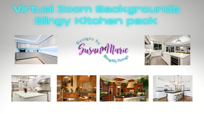 6 Kitchen scenes - Virtual Background package for Zoom