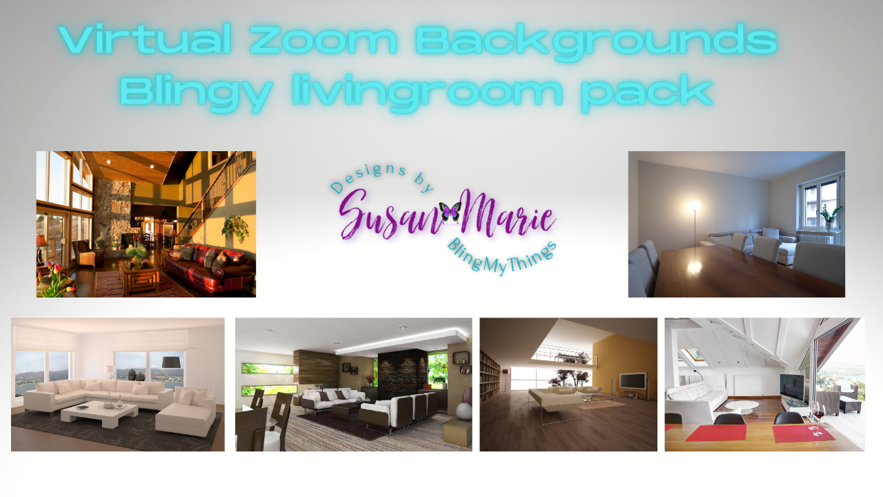 6 Living room scenes - Virtual Background package for Zoom
