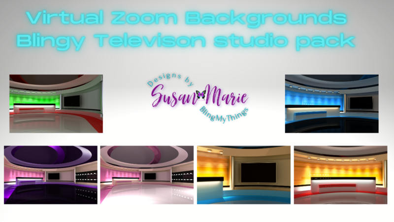 6  Television Studio scenes - Virtual Background package for Zoom