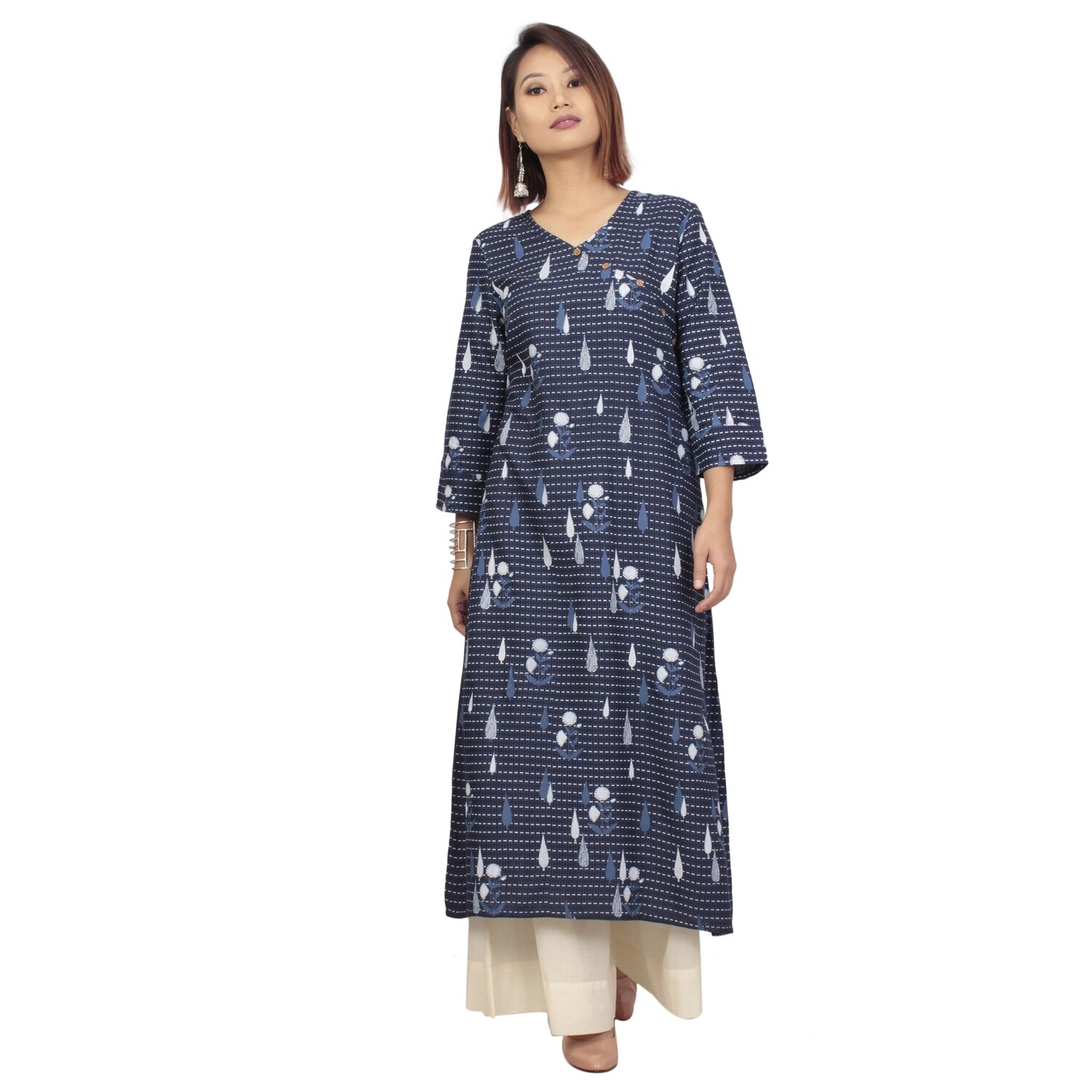 IndusDiva Infusion Navy Blue Printed Straight Kurta
