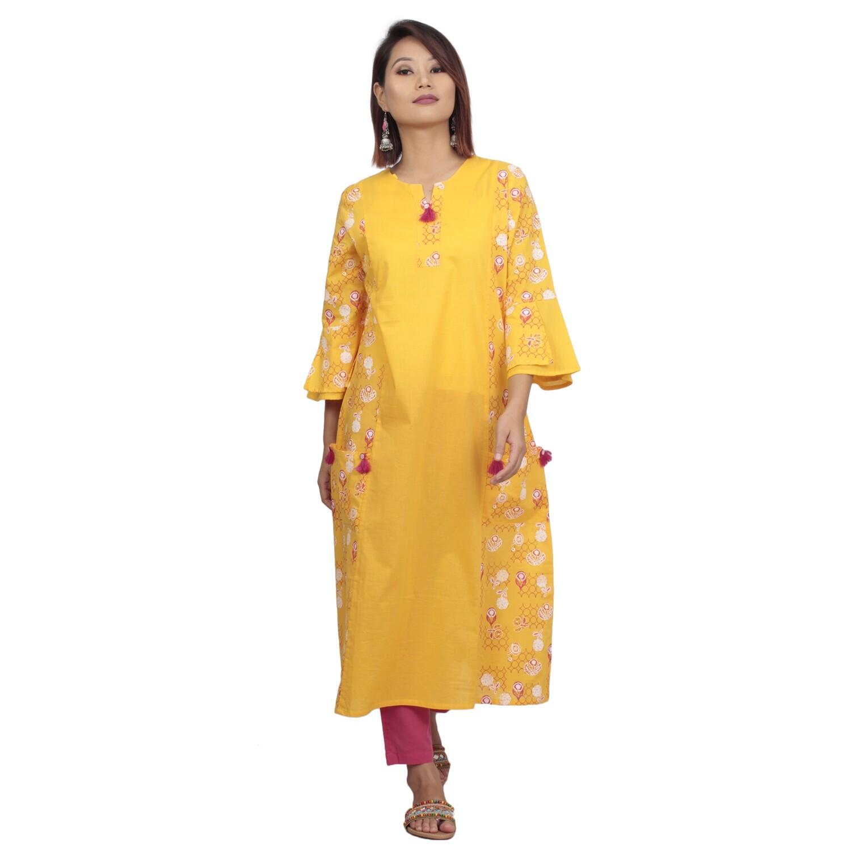 IndusDiva Infusion  Yellow Printed Straight Kurta