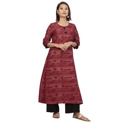 IndusDiva Infusion Maroon Red Self Printed Straight Kurta