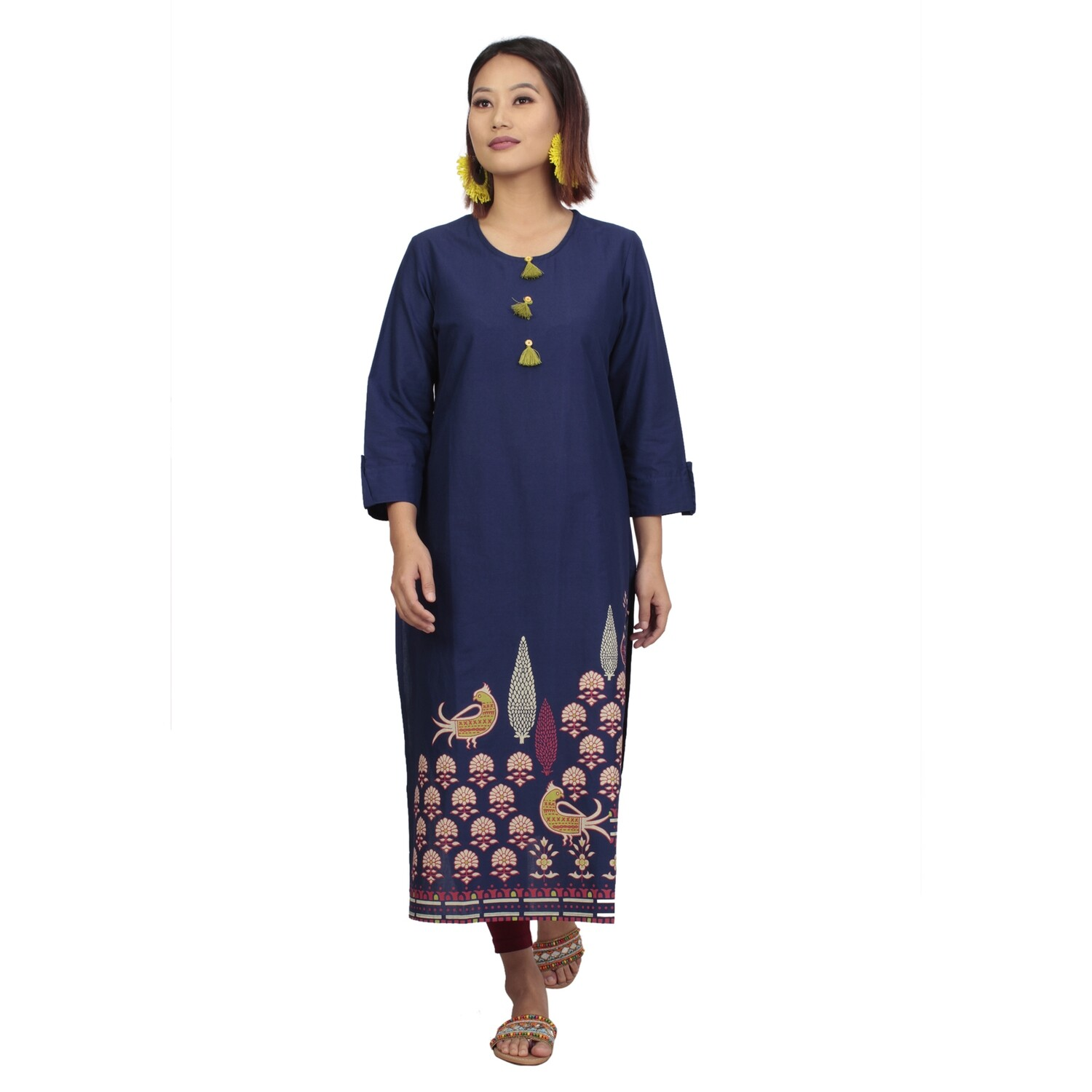 IndusDiva Infusion  Navy Blue Placement Print Straight Kurta