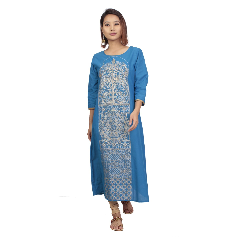IndusDiva Infusion   Blue Foil Print Straight Kurta