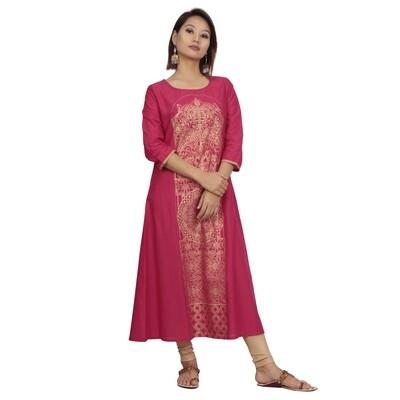 IndusDiva Infusion  Fuchsia Pink Foil Print Straight Kurta