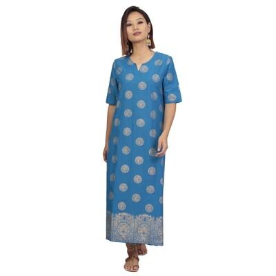 IndusDiva Infusion  Blue Foil Printed Straight Kurta