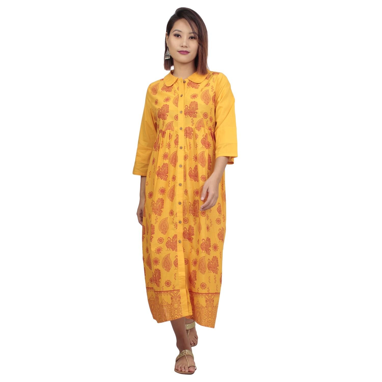 IndusDiva Infusion Mustard Yellow Printed A Line Kurta Dress