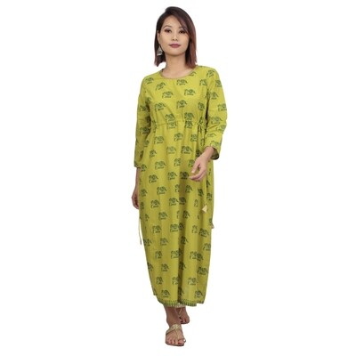 IndusDiva Infusion Pear Green Printed A Line Midi Dress