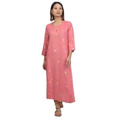 IndusDiva Infusion  Pink Foil Printed Straight Kurta