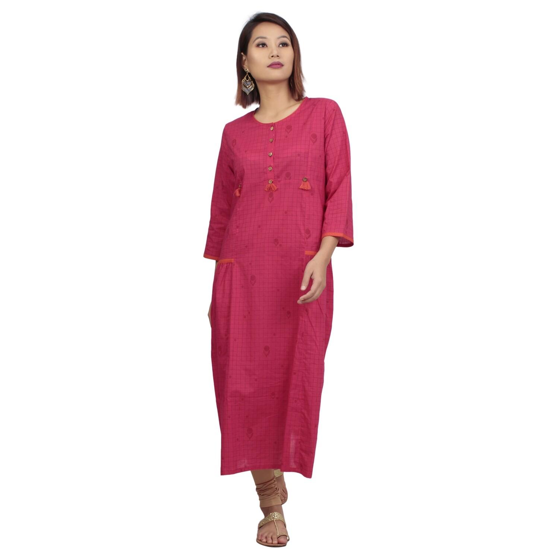 IndusDiva Infusion Fuchsia Pink Printed A Line Kurta