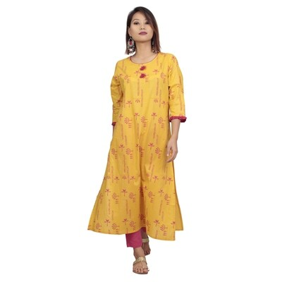 IndisDiva Infusion Yellow Printed Straight Kurta