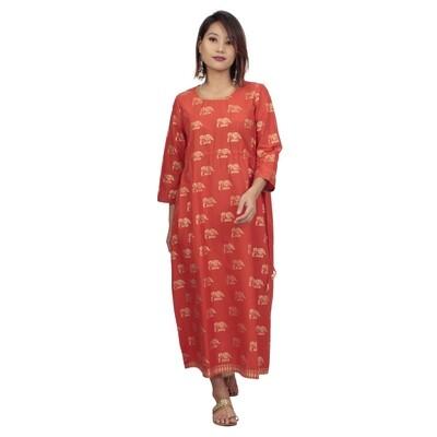 IndusDiva Infusion Orange Foil Printed A Line Midi Dress