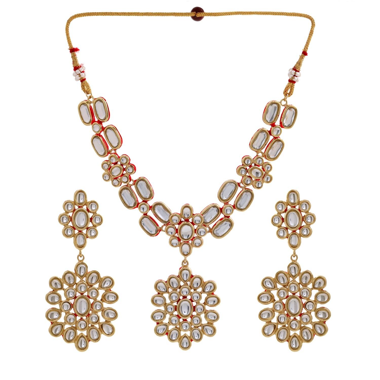 Estele Traditional Gold tone Kundan Bollywood Magic Necklace Set