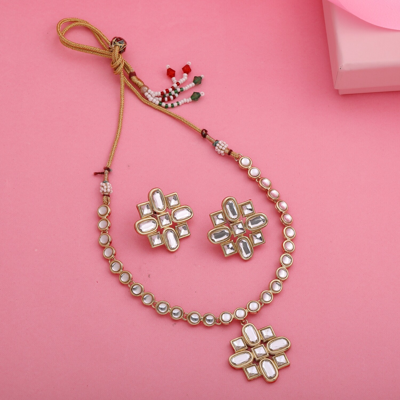 Estele Fashion Jewellery CZ Diamond Design Necklace Set for Women