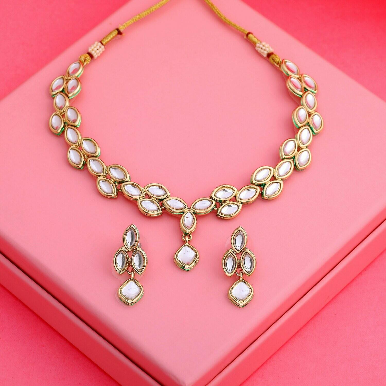 Estele Traditional Gold tone Kundan Sparkling Leaf Necklace Set