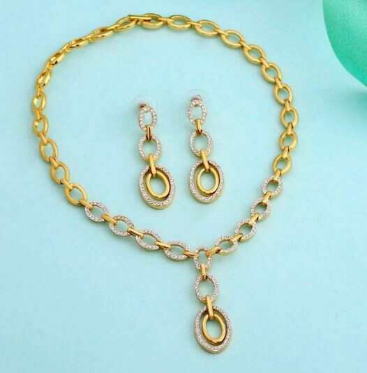 Estele Opal Hoop Y Shaped Necklace Set