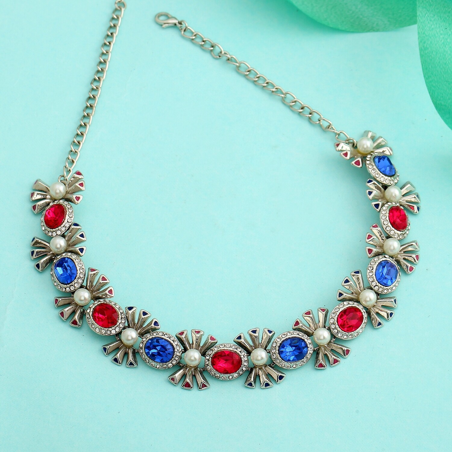 Estele Designer Rhodium plated Pop Diva Necklace with blue and pink Austrian crystals