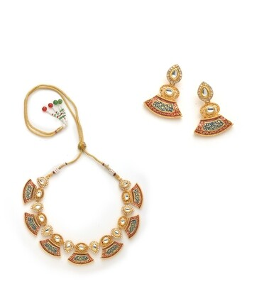 Estele Antique Gold Plated Kundan Traditional Necklace Set