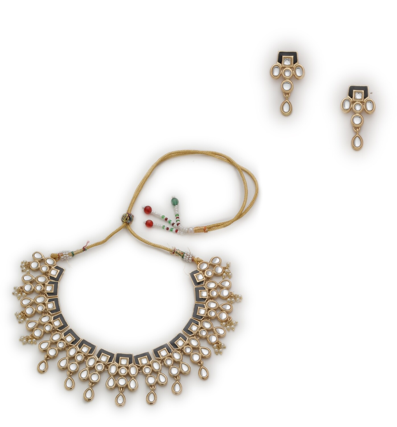 Estele Gold Plated Kundan Polki Jewelry / Necklace Set