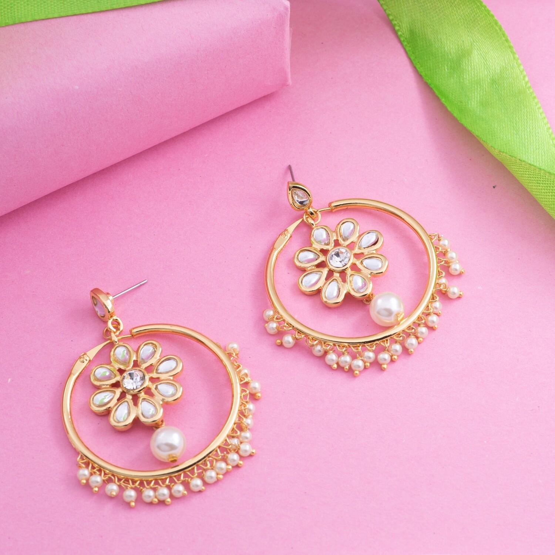 Estele 24K Gold Plated Traditional Bali Stud Hoop Earrings