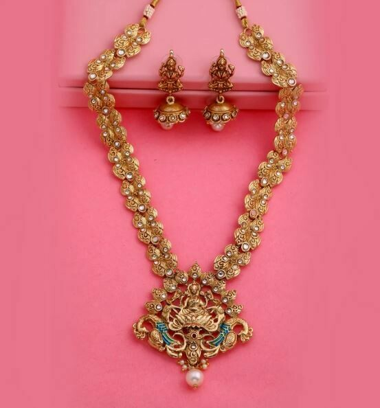 Estele Traditional Polki Antique Gold-Plated Laxmi Haar Necklace Set